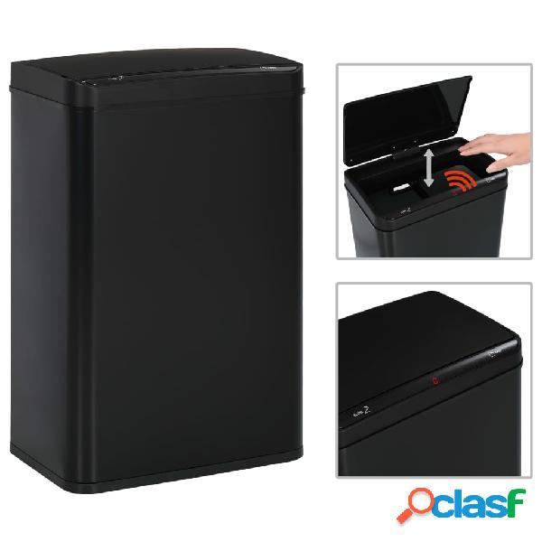 Vidaxl caixote do lixo com sensor automático 60 l aço preto
