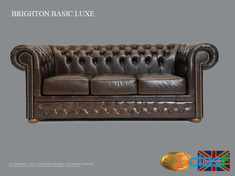 Sofá de couro natural Chesterfield Basic Lux , Cloudy Dark Brown, 3 lugares