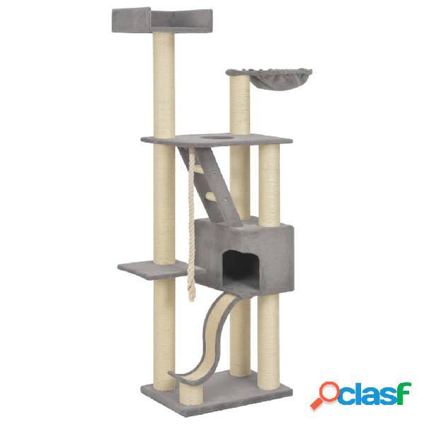 Vidaxl árvore gatos c/ postes arranhadores sisal 180 cm xxl cinzento
