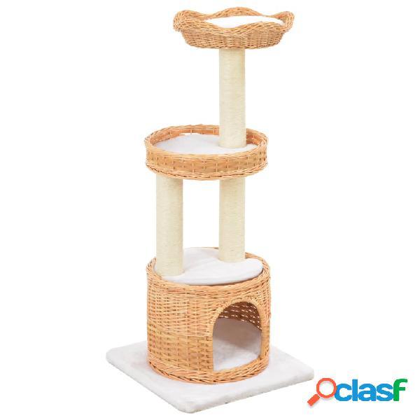 Vidaxl árvore para gatos c/ postes arranhadores madeira de salgueiro