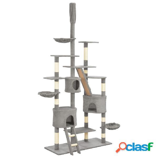 Vidaxl árvore para gatos c/ postes arranhadores sisal 255 cm cinzento