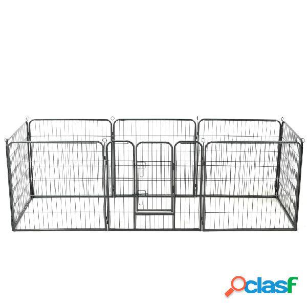 Vidaxl parque para cães 8 painéis aço 80x80 cm preto