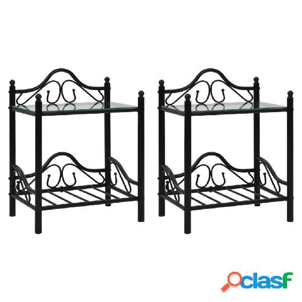 Vidaxl mesas cabeceira 2 pcs aço e vidro temperado 45x30,5x60cm preto