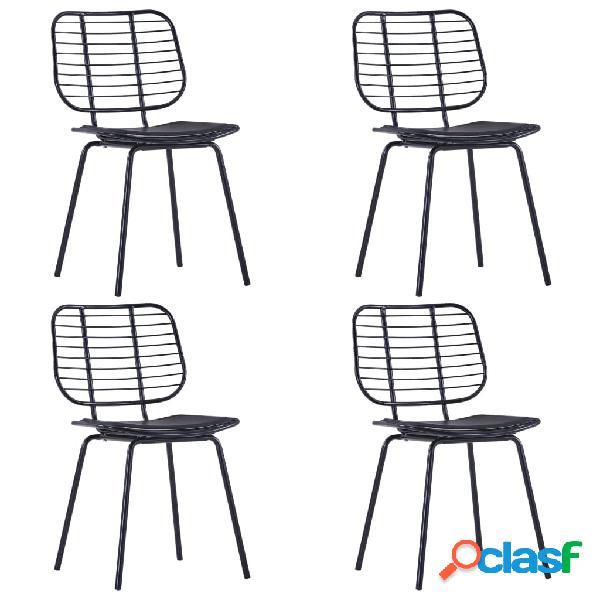 Vidaxl cadeiras jantar c/ assentos em couro artificial 4 pcs aço preto