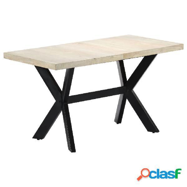 Vidaxl mesa de jantar 140x70x75cm madeira mangueira maciça branqueada