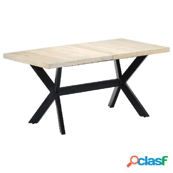 Vidaxl mesa de jantar 160x80x75 cm madeira de mangueira maciça branco