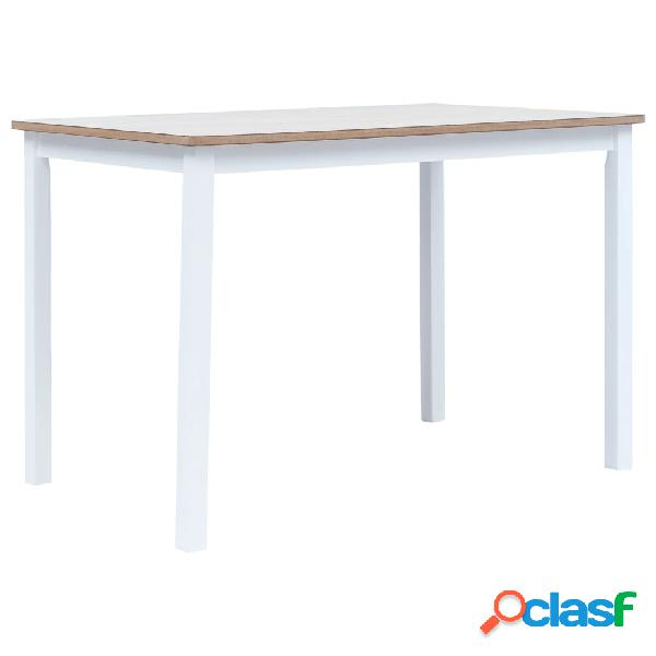 Vidaxl mesa jantar 114x71x75cm madeira seringueira branco e castanho