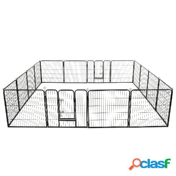 Vidaxl parque para cães 16 painéis aço 80x80 cm preto