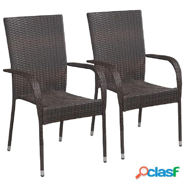Vidaxl cadeiras de exterior empilháveis 2 pcs vime pe castanho