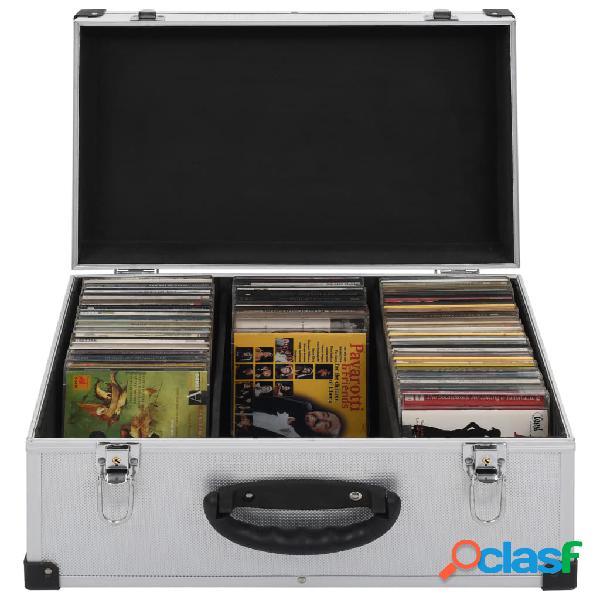 vidaXL Estojo para 60 CDs alumínio ABS prateado