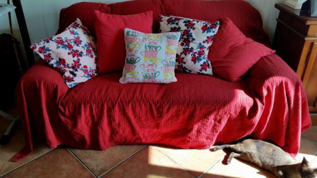 Sofa pele vermelha