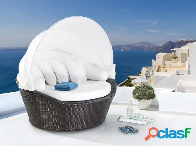 Cama de praia em vime castanho - cama com toldo - vime sintético - sylt
