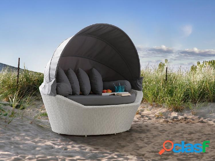Cama de praia em vime branco - cama com toldo - sylt