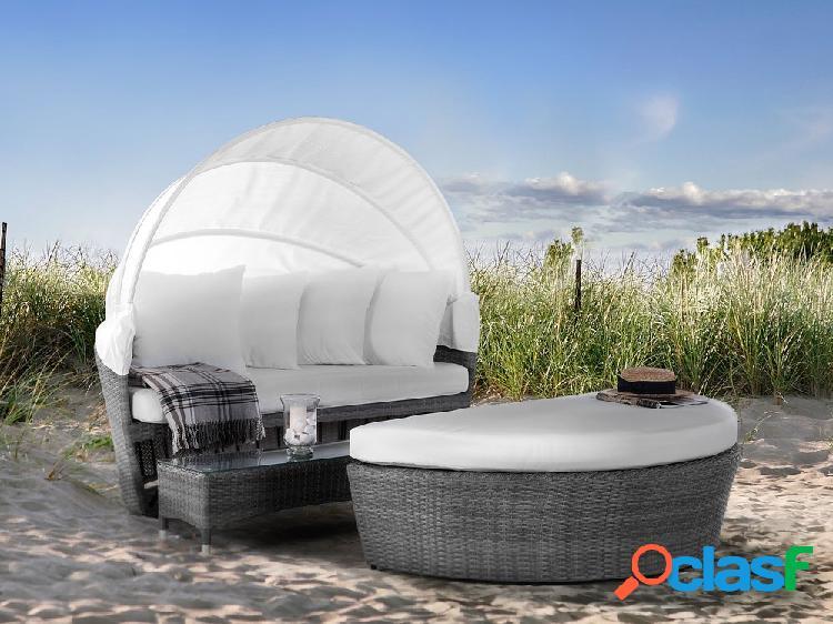 Cama de praia em vime cinza - toldo ajustável - sylt lux
