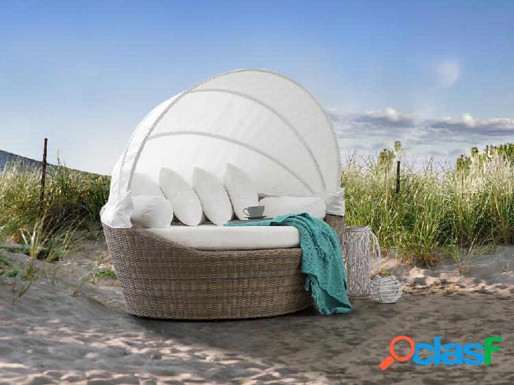 Cama de praia em vime marrom claro - cama com toldo - sylt