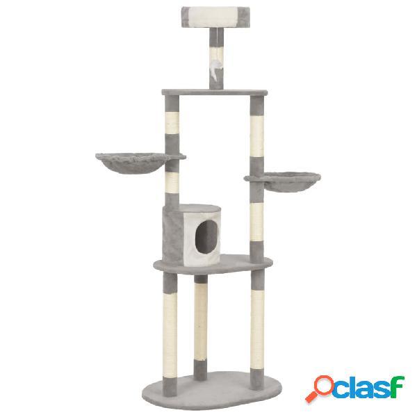 Vidaxl árvore para gatos c/ postes arranhadores sisal 180 cm cinzento