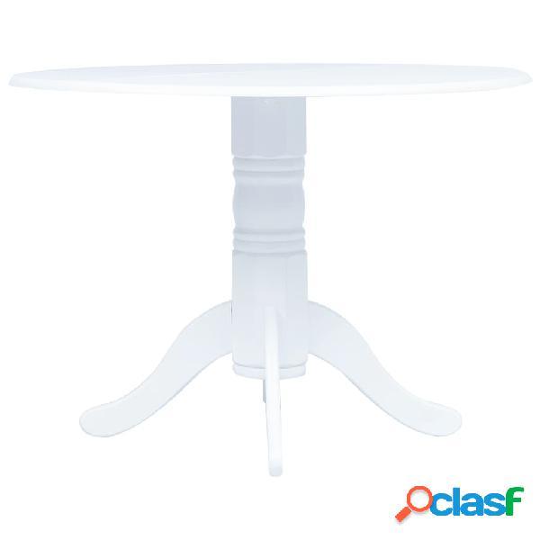 Vidaxl mesa de jantar 106 cm madeira de seringueira maciça branco