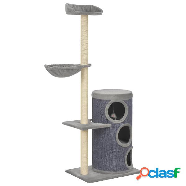 Vidaxl árvore para gatos c/ postes arranhadores sisal 148 cm cinzento