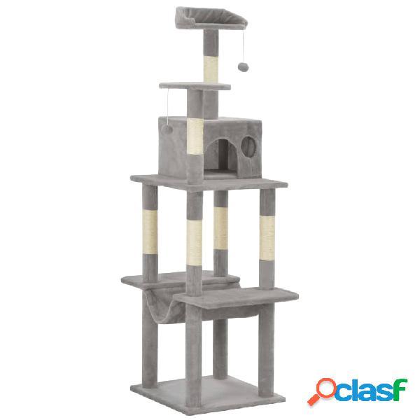 Vidaxl árvore para gatos c/ postes arranhadores sisal 165 cm cinzento