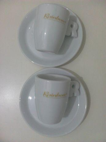 Conjunto de duas chávenas de café rainbow (porcelana)