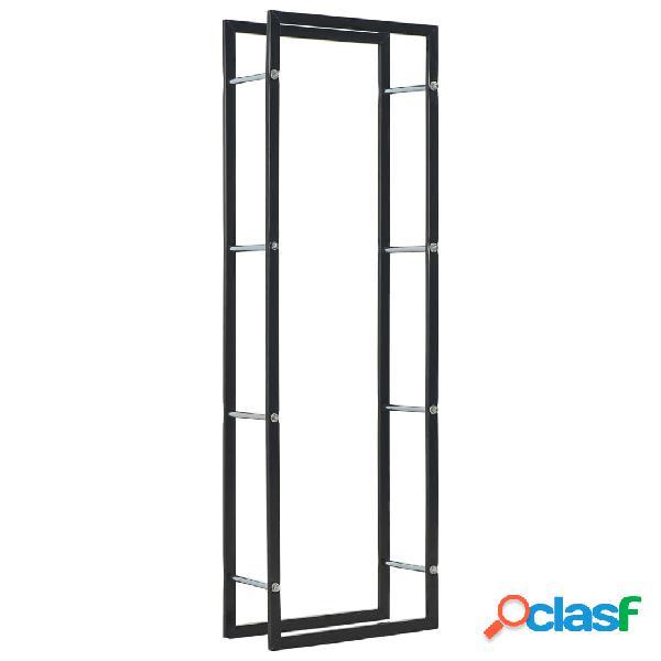 Vidaxl suporte para lenha 50x20x150 cm aço preto
