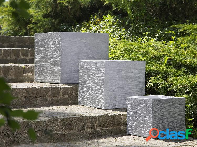 Conjunto de vasos de flores branco - 3 peças - formato cúbico - paros