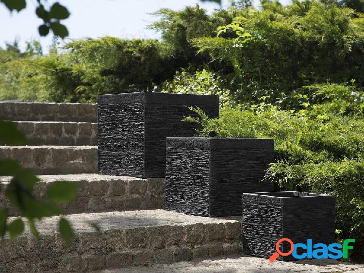 Vaso de flores preto - 50x50x46 cm - formato cúbico – paros