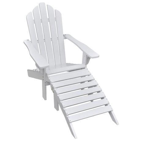 Vidaxl cadeira de jardim com repousa-pés em madeira branca