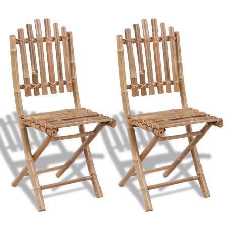 Vidaxl cadeiras de jardim dobráveis 2 pcs bambu 41498