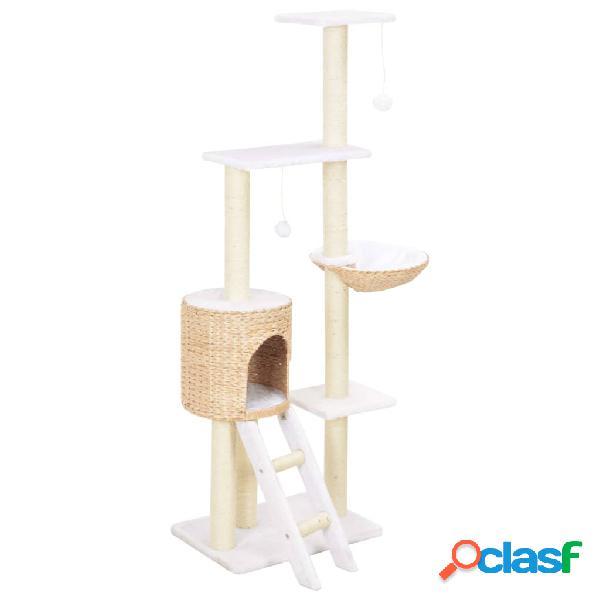 Vidaxl árvore para gatos c/ postes arranhadores em erva marinha