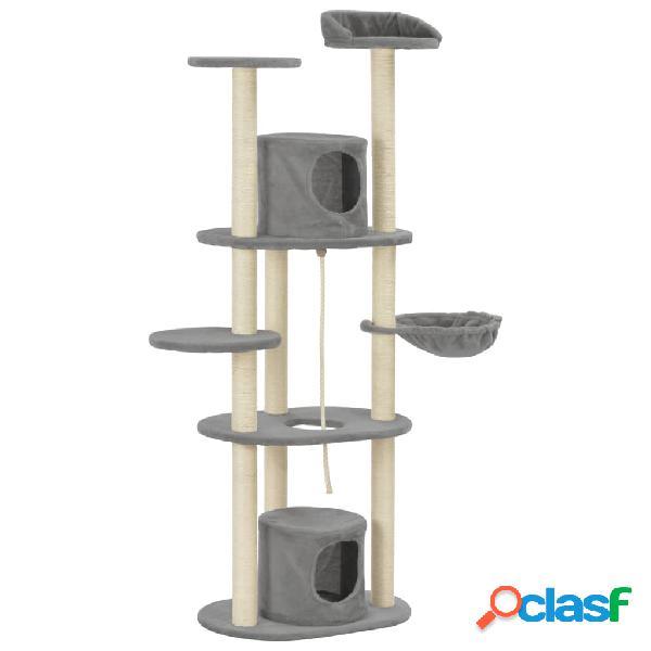 Vidaxl árvore para gatos c/ postes arranhadores sisal 160 cm cinzento