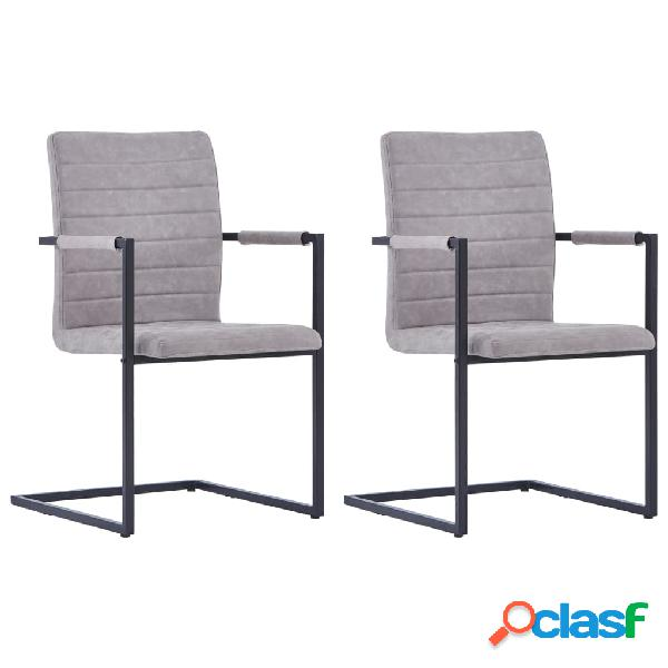 Vidaxl cadeiras jantar 2pcs cantilever couro artificial cinzento-claro