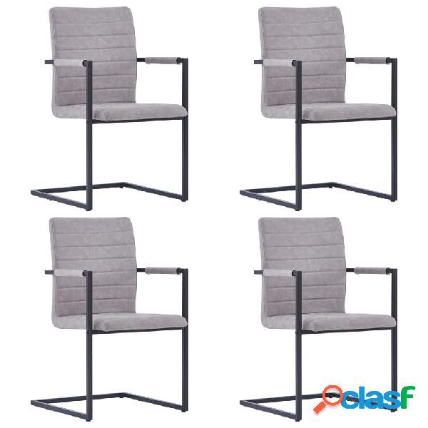 Vidaxl cadeiras jantar 4pcs cantilever couro artificial cinzento-claro