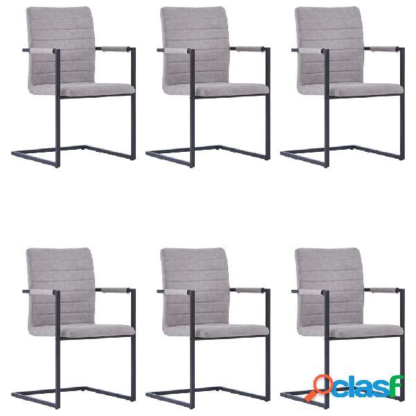 Vidaxl cadeiras jantar 6pcs cantilever couro artificial cinzento-claro