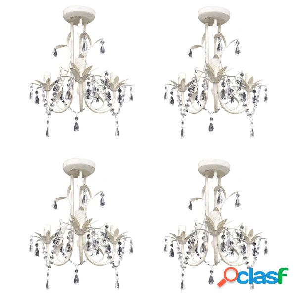 Vidaxl lustres de teto com contas de cristal 4 pcs branco elegante