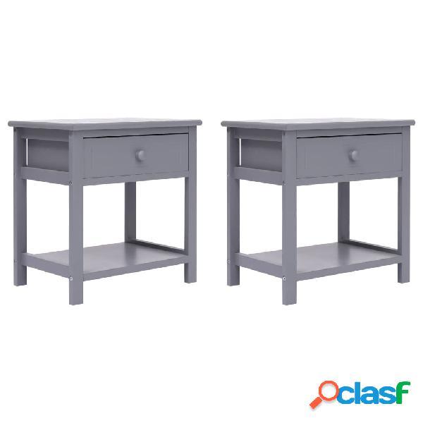Vidaxl mesas de cabeceira 40x29x42 cm 2 pcs madeira paulownia cinzento