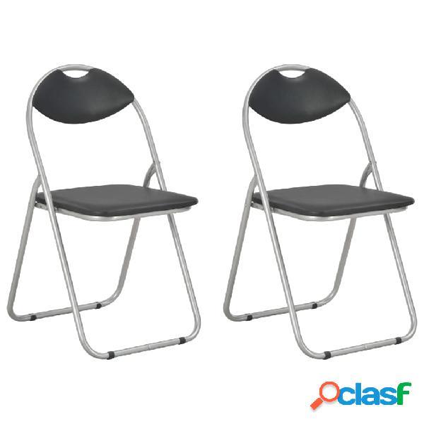 Vidaxl cadeiras de jantar dobráveis 2 pcs couro artificial preto