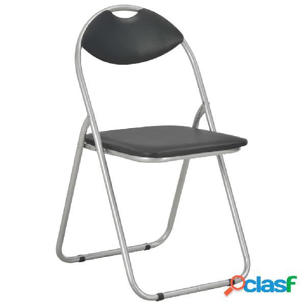 vidaXL Cadeiras de jantar dobráveis 2 pcs couro artificial preto 1