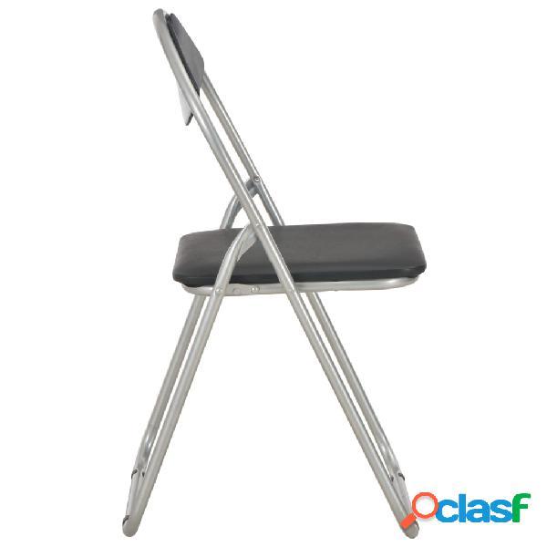 vidaXL Cadeiras de jantar dobráveis 2 pcs couro artificial preto 3