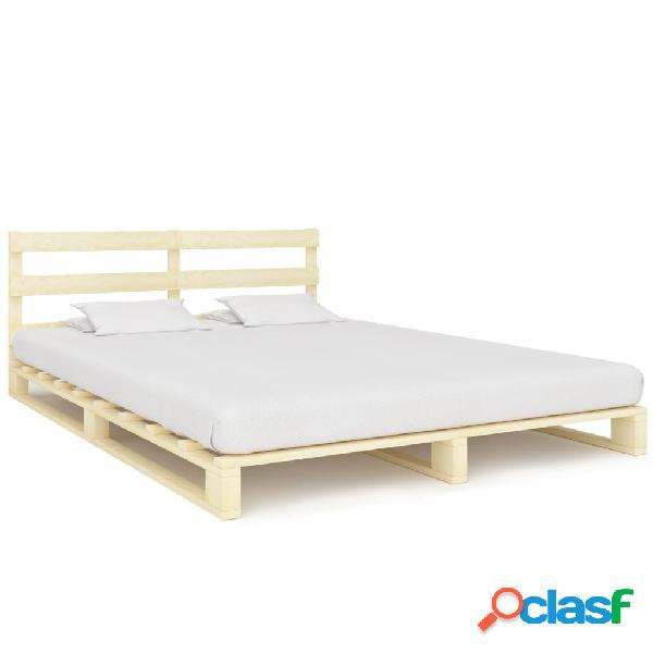 vidaXL Estrutura de cama em paletes pinho maciço 140x200 cm