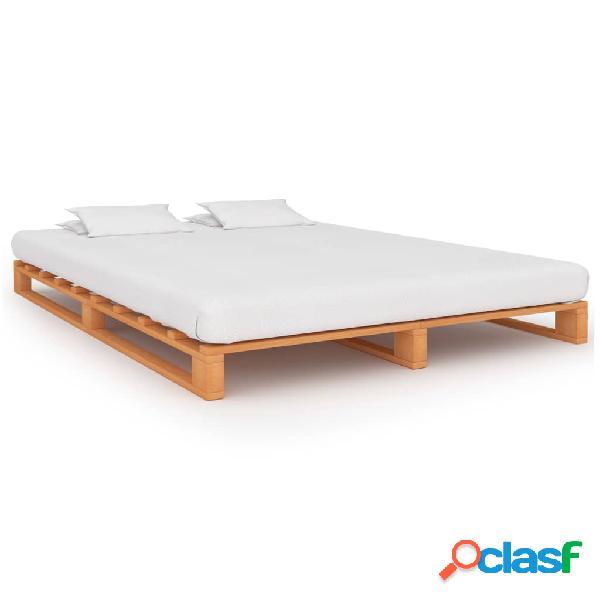 vidaXL Estrutura de cama em paletes pinho maciço 160x200 cm castanho