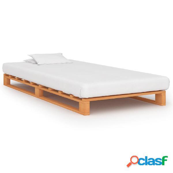 vidaXL Estrutura de cama em paletes pinho maciço 90x200 castanho
