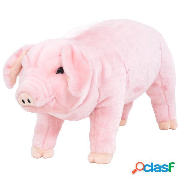 vidaXL Brinquedo de montar porco peluche rosa XXL