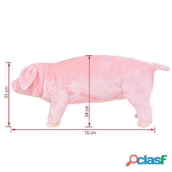 vidaXL Brinquedo de montar porco peluche rosa XXL 3