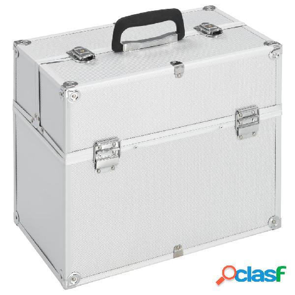 vidaXL Caixa de maquilhagem 37x24x35 cm alumínio prateado