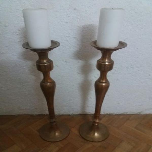 3 conjuntos de castiçais em cobre