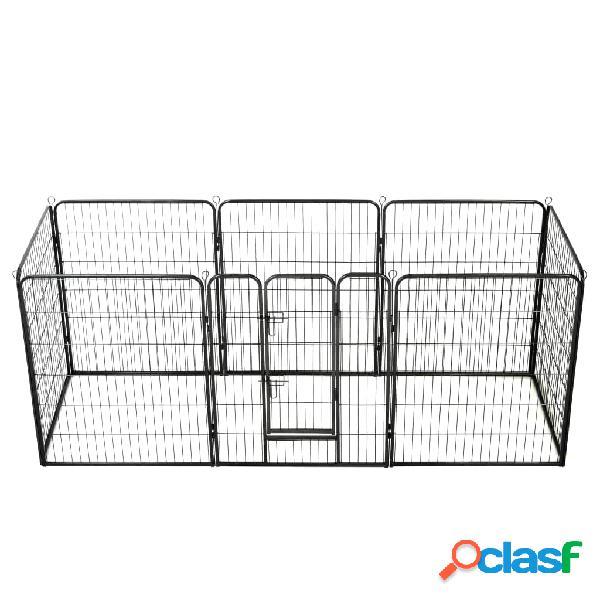 Vidaxl parque para cães 8 painéis aço 80x100 cm preto
