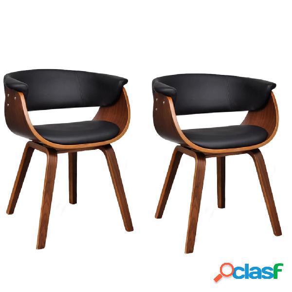 Vidaxl cadeiras jantar 2 pcs madeira curvada e couro artificial