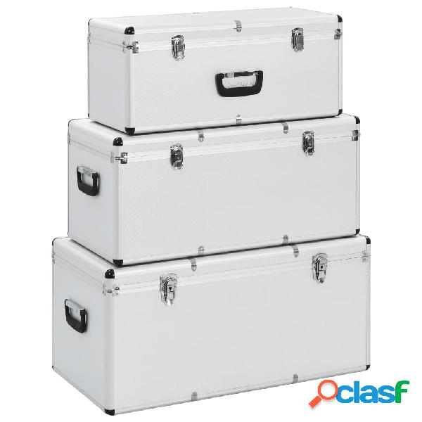 Vidaxl caixas de arrumação 3 pcs alumínio prateado