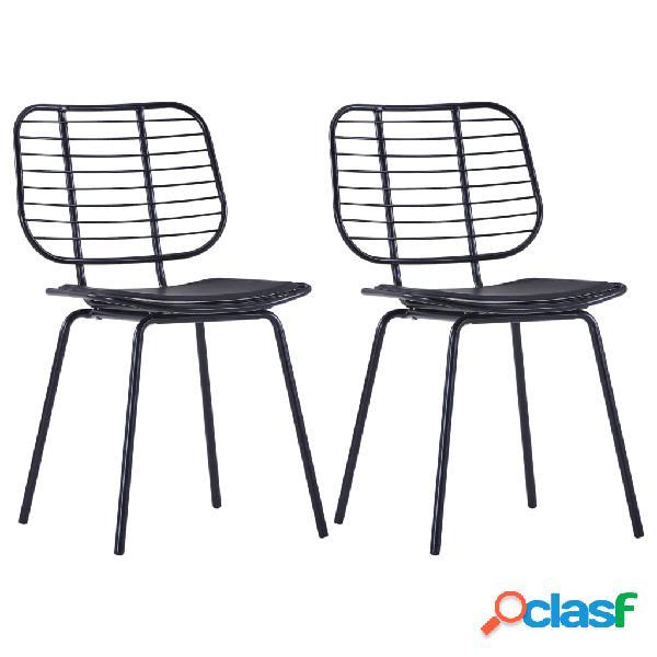 Vidaxl cadeiras jantar c/ assentos em couro artificial 2 pcs aço preto